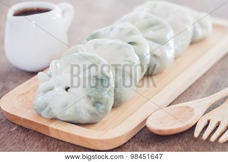 Chinese Leek Steamed Dessert On Wooden Table