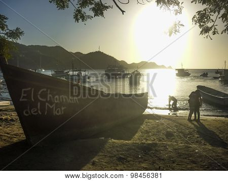 Fishing Boats At Taganga Bay In Colombia