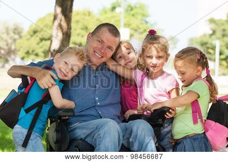 Disabled Father With Children