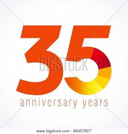35 years old logo with pie chart. Anniversary year of 35 th vector round banner numbers. Birthday greetings circle celebrates. Celebrating digits. Colored figures of ages.