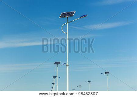 Solar Panels On The Lanterns, Solar Panels On The Roads, Alternative Energy, Innovative Technology,