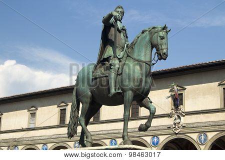 Equestrian statue of Duke Ferdinando I de Medici Piazza Della Santissima Annunziata Tuscany Italy poster