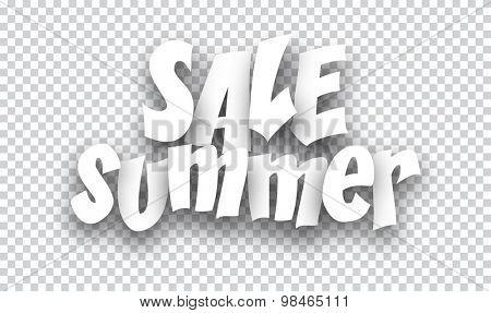 White summer sale sign. Vector illustration.