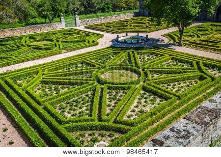 Garden In Castle Escorial At San Lorenzo Near Madrid Spain