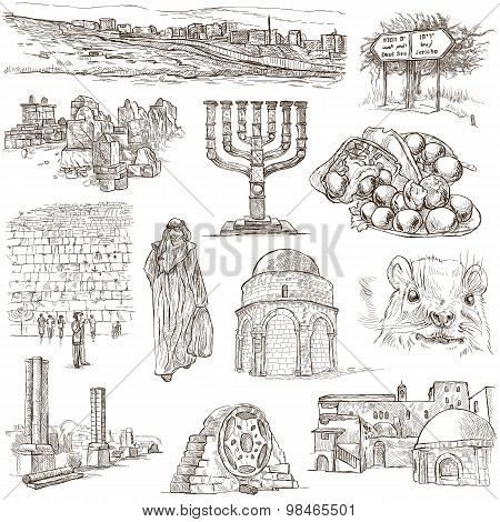 Travel ISRAEL - Collection of an hand drawn illustrations. Description: Full sized hand drawn illustrations (freehand sketches). Drawing on white background. poster