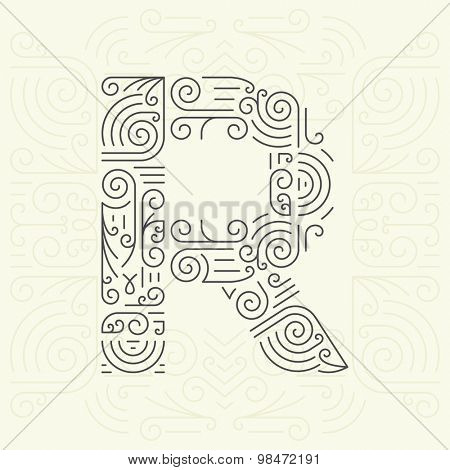 Vector Mono Line style Geometric Font Your for Text, Slogan, Template or Advertising. Golden Monogram Design element for Labels and Badges. Letter R