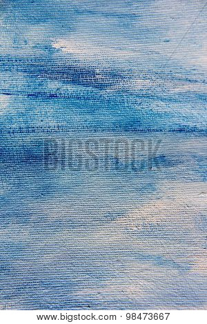 Abstract Blue Watercolor on Canvas 2