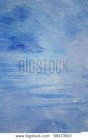 Abstract Blue Watercolor on Canvas 11