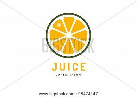Lime or lemon fruit drink logo icon template design. Orange juice. Fruit slice. Fresh juice drink, y
