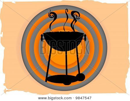 Bbq Inside Abstract Circle Bullseye Like Grungy Boarder