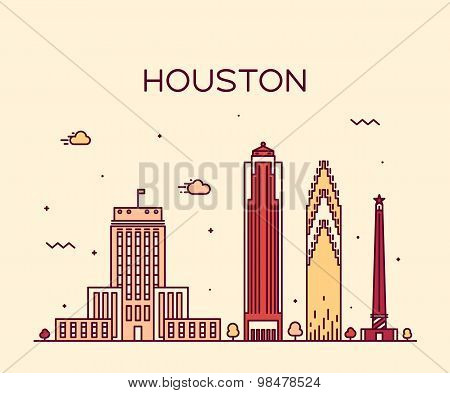 Houston skyline trendy vector illustration linear