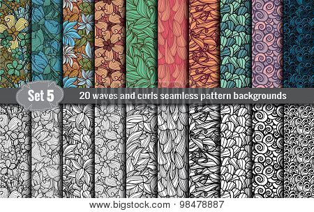 waves and curls seamless pattern.Pattern swatches included for illustrator user,  pattern swatches i