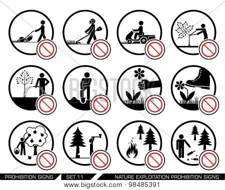 Set of nature exploitation and cultivation prohibition signs. Signs prohibiting exploitation, pollution and work on green surfaces, gardens and parks. Set of nature prohibition signs.