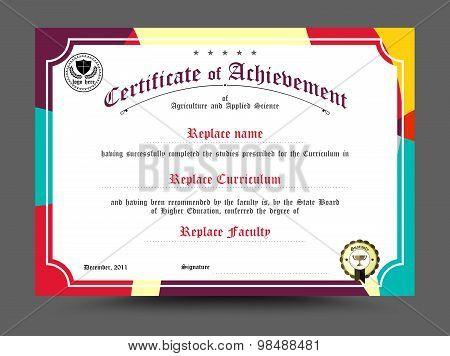 Certificate Of Archievement Template Design. Vector Illustration
