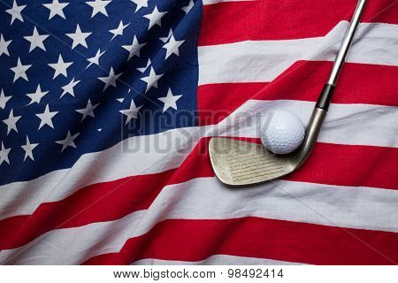 Golf Ball With Flag Of Usa