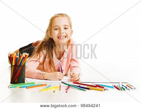 Kid Artist Drawing Color Pencils, Smiling Child Imagination, Little Girl Lying On White