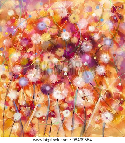 Abstract colorful flowers watercolor painting