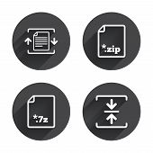 Archive file icons. Compressed zipped document signs. Data compression symbols. Circles buttons with long flat shadow. Vector poster