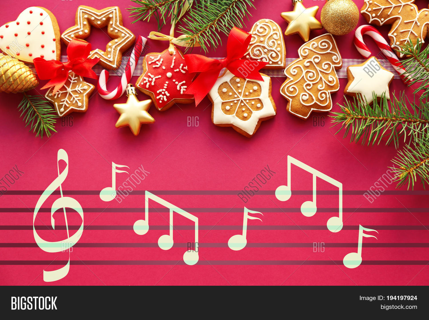 Christmas Music Background.Tasty Gingerbread Image Photo Free Trial Bigstock