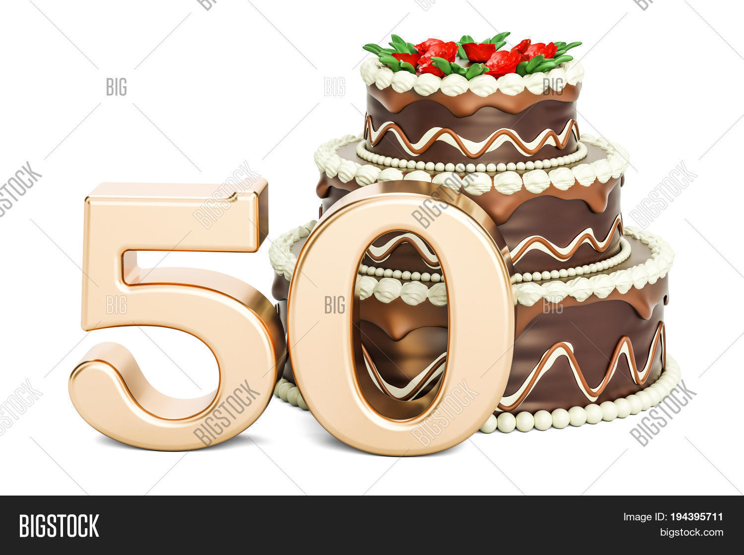 Chocolate Birthday Cake With Golden Number 50 3D Rendering Isolated On White Background