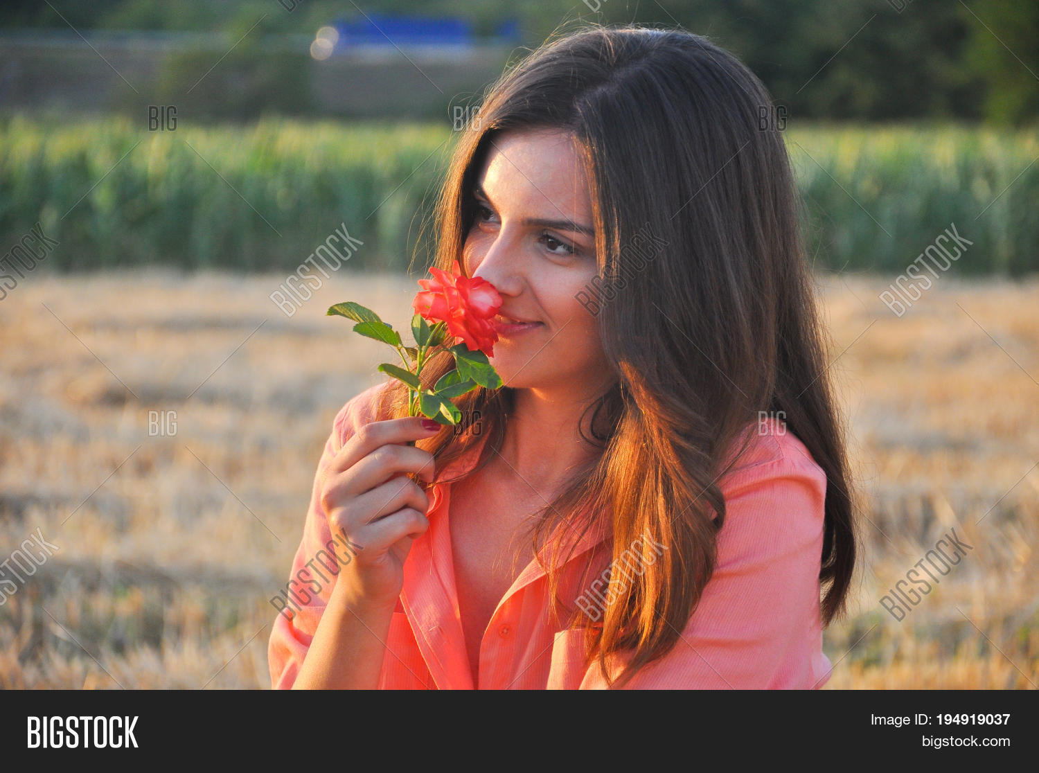 Beautiful Girl Smells Image Photo Free Trial Bigstock