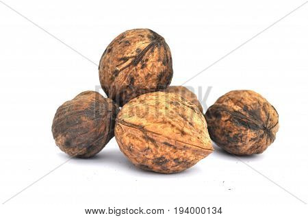 Five big nut isolated on white background