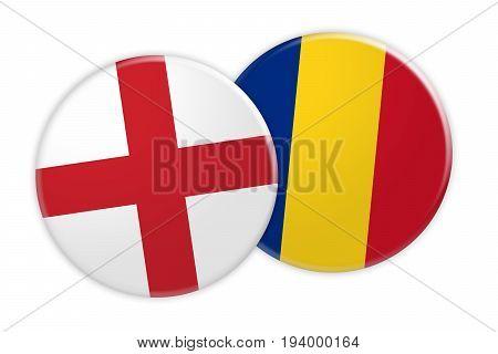 News Concept: England Flag Button On Romania Flag Button 3d illustration on white background