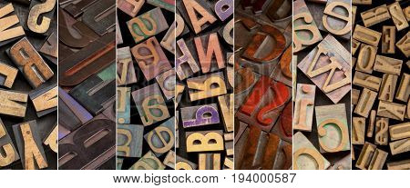 alphabet in vintage letterpress wood type printing blocks - a collage of different fonts and styles