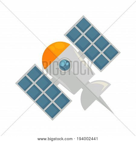 Satellite in colors with rounded body on nose, circular window, sharp tail and two special wings isolated on white vector closeup illustration in graphic design. Flying vehicle for discovering galaxy