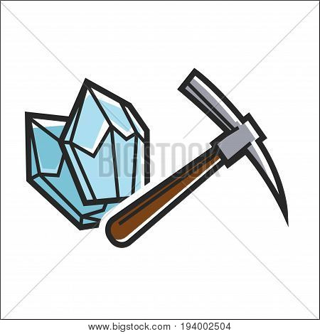 Hammer near minerals isolated on white vector flat illustration in graphic design. Close up poster of sharp and dull equipment for beating hard materials and finding precious stones for jewelries