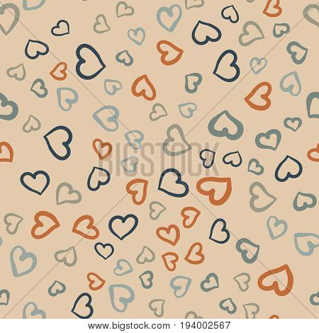 A lot of hearts seamless vector tile. Valentines day background. Flat design endless chaotic texture made of tiny heart silhouettes.