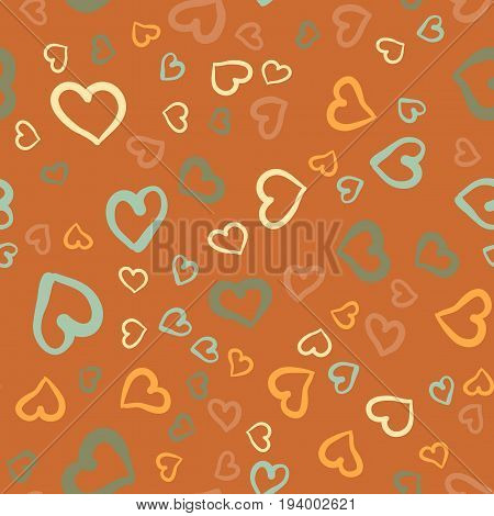 Simply hearts seamless vector tile. Valentines day background. Flat design endless chaotic texture made of tiny heart silhouettes.