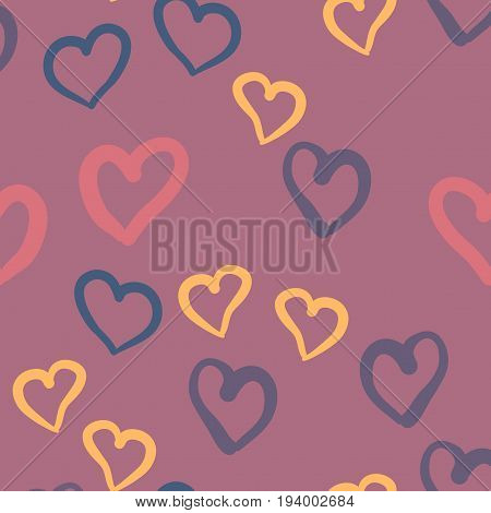 Violet hearts seamless vector tile. Valentines day background. Flat design endless chaotic texture made of tiny heart silhouettes.