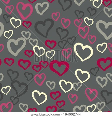 Pink hearts seamless vector tile. Valentines day background. Flat design endless chaotic texture made of tiny heart silhouettes.