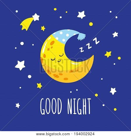 Cute sleeping crescent moon in the night sky. Hand-written inscription good night. Vector illustration is suitable for greeting cards posters and prints on t-shirts.