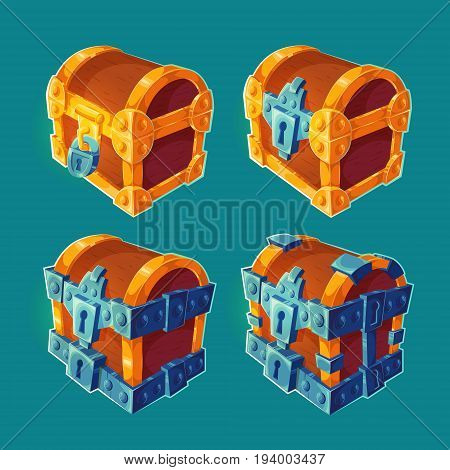 Collection of isolated cartoon illustrations of wooden chests locked and bound iron. Can be used as elements of game design