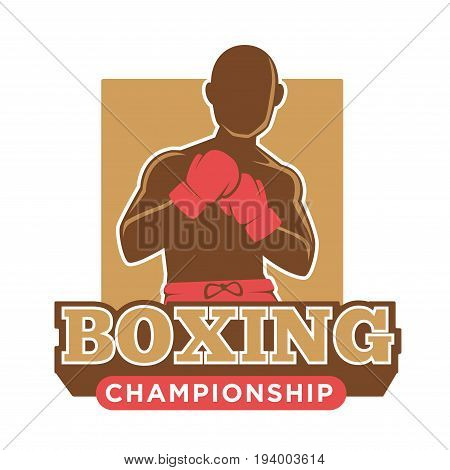 Big professional boxing championship logotype with faceless bald sportsman in red gloves and shorts with square behind and big sign underneath isolated vector illustration on white background.