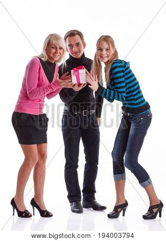 Happy young people with gift box on a white background.