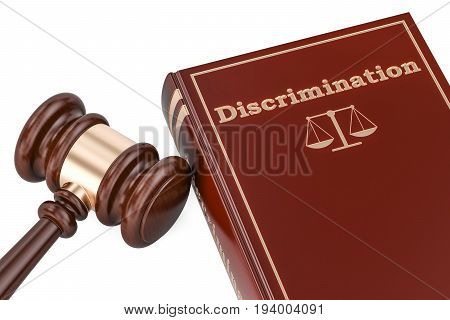 Discrimination concept with gavel and book 3D rendering