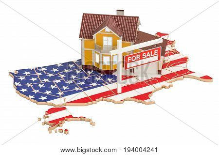 Property for sale and rent in USA concept 3D rendering