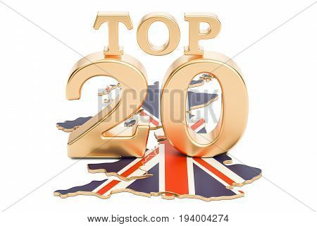 UK Top 20 concept 3D rendering isolated on white background