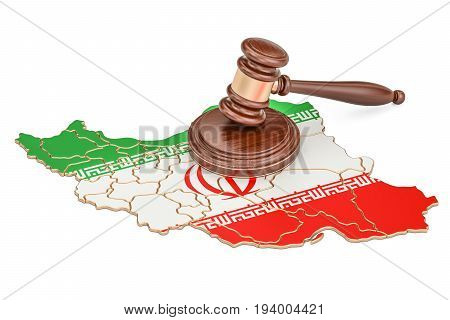 Wooden Gavel on map of Iran 3D rendering