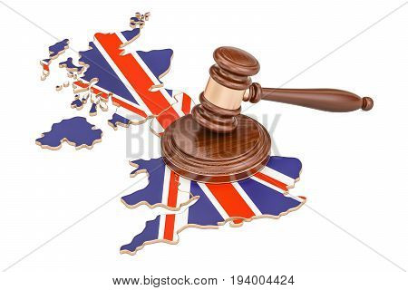 Wooden Gavel on map of United Kingdom 3D rendering isolated on white background