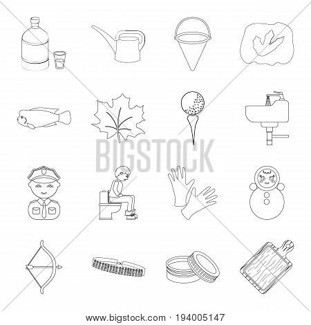 alcohol, profession, medicine and other  icon in outline style.sport, hunting, cosmetics icons in set collection.