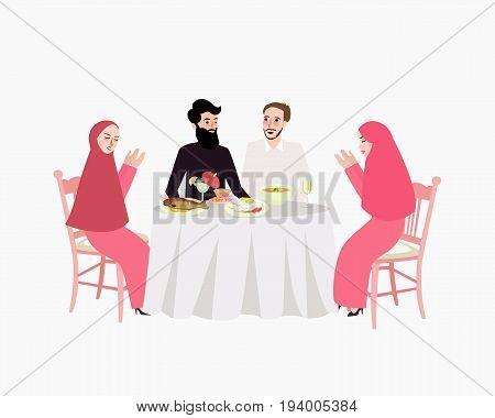 dinner muslim ramadhan iftar woman and man enjoy food break fasting vector
