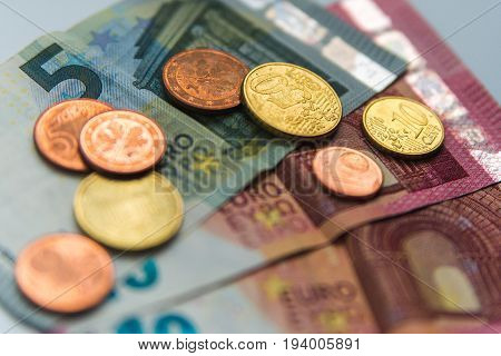 Success and got profit from business with colorful of Euro currency, money banknotes