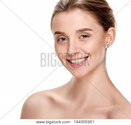 Portrait of attractive smiling woman with perfect face