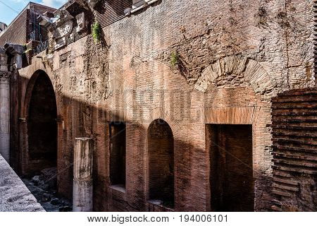 Rome Italy - August 18 2016: Outdoor view of Pantheon of Agripa in Rome a sunny summer day. The Pantheon is a former Roman temple now a church.