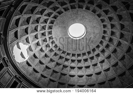 Rome Italy - August 18 2016: Indoor view of Pantheon of Agripa in Rome. The Pantheon is a former Roman temple now a church. Black and white