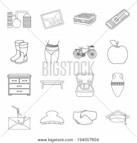 fitness, furniture, computer and other  icon in outline style.sport, travel, food icons in set collection.